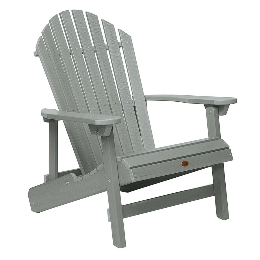 Highwood USA Hamilton Coastal Teak Plastic Folding Patio Adirondack Chair