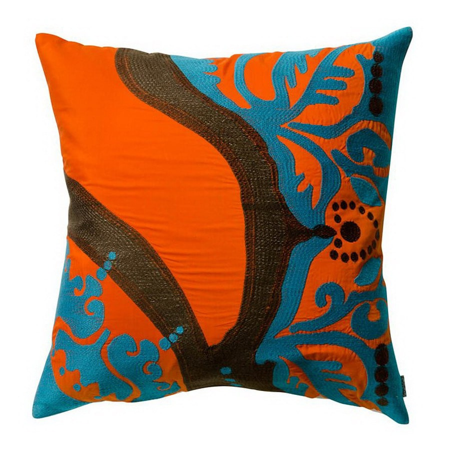KOKO Company 18-in W x 18-in L Orange Square Decorative Pillow