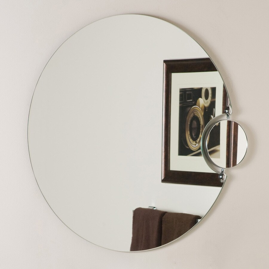 Decor Wonderland 27.56-in W x 27.56-in H Round Frameless Bathroom Mirror with Hardware and Polished Edges