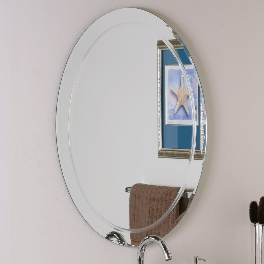 Shop decor wonderland 23 6 in w x 31 5 in h oval frameless for 16 in x 60 in beveled door mirror