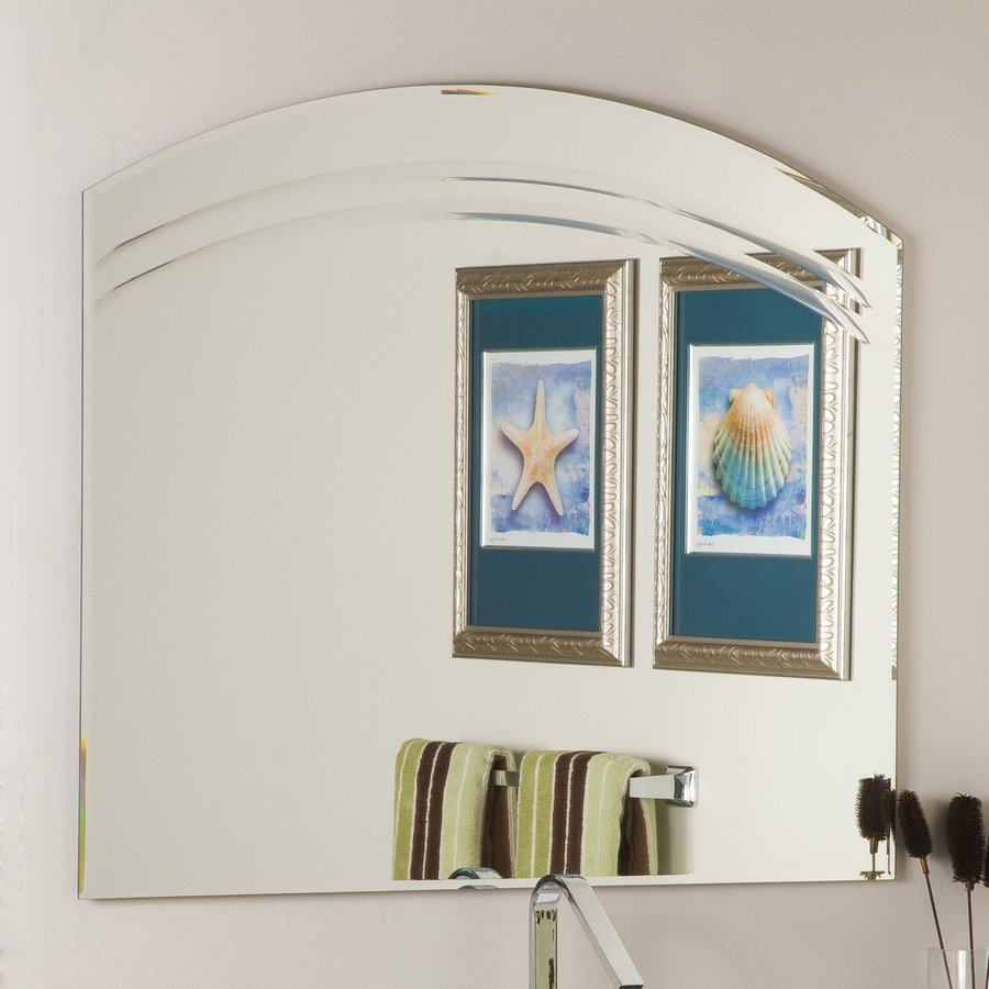 Decor Wonderland 39.5-in W x 31.5-in H Arch Frameless Bathroom Mirror with Hardware and Beveled Edges