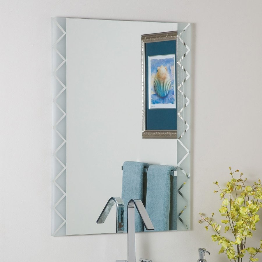 Decor Wonderland 23.6-in W x 31.5-in H Rectangular Frameless Bathroom Mirror with Hardware and Polished Edges