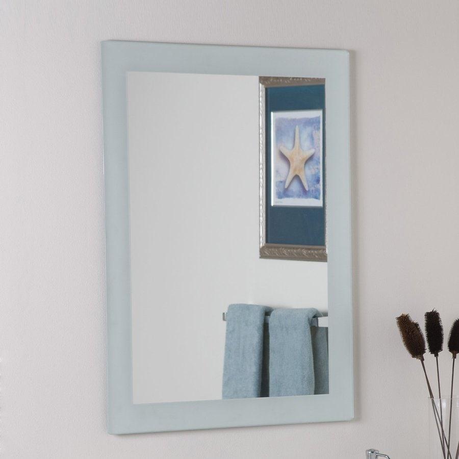 Shop decor wonderland 23 6 in w x 31 5 in h rectangular for Frameless rectangular bathroom mirror
