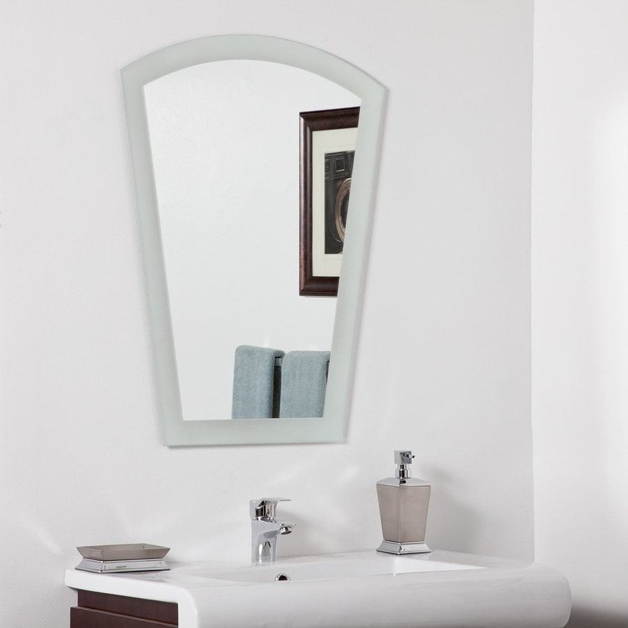 Decor Wonderland 23.6-in W x 31.5-in H Arch Frameless Bathroom Mirror with Hardware and Polished Edges