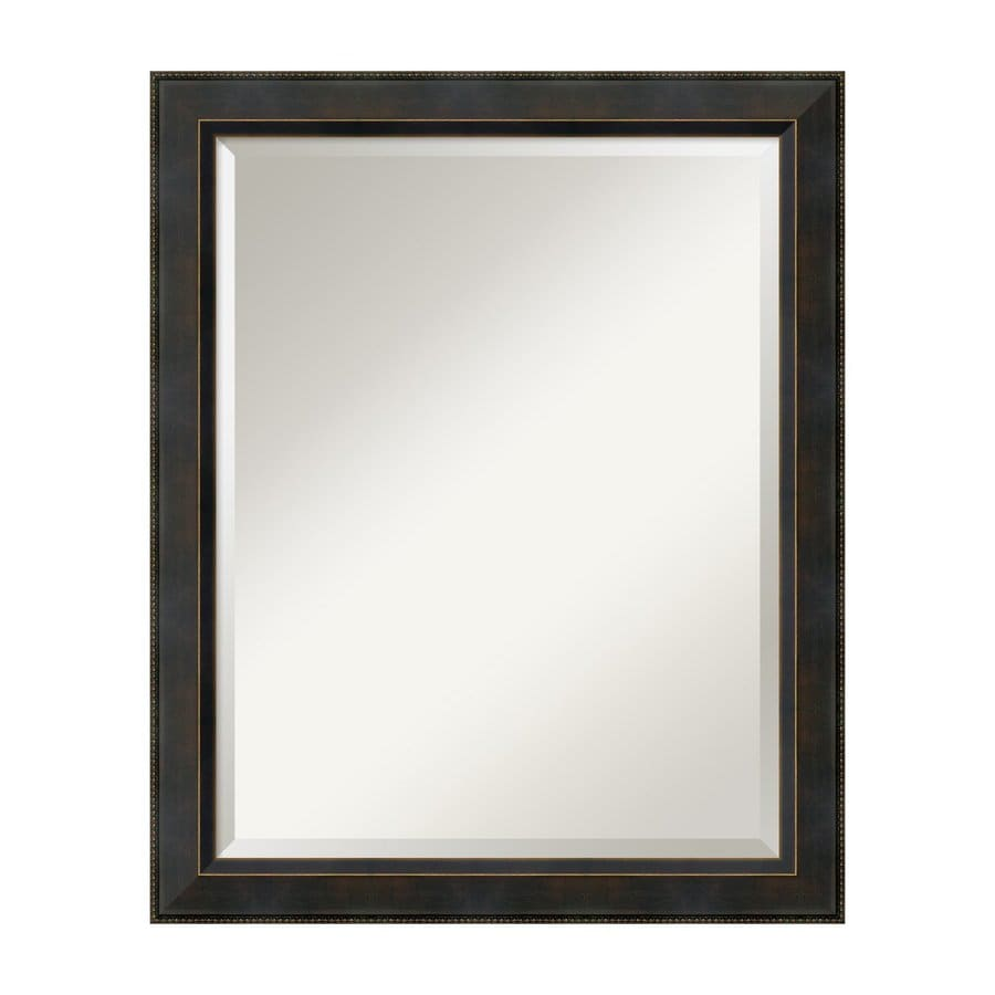 Amanti Art Signore 26.41-in x 32.41-in Angled Bronze with Espresso Patina Beveled Rectangular Framed Wall Mirror