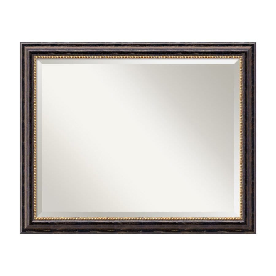 Amanti Art Tuscan Rustic 31.97-in x 25.97-in Distressed Black Beveled Rectangular Framed Traditional Wall Mirror