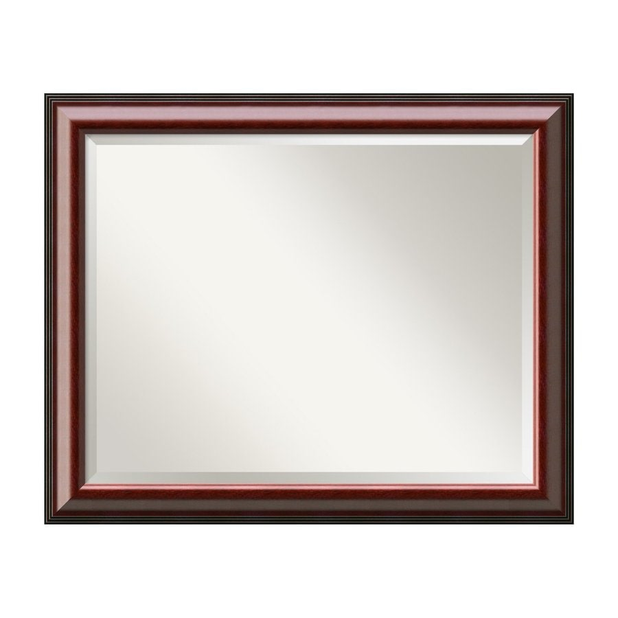 Amanti Art Cambridge 32.29-in x 26.29-in Rich Mahogany Beveled Rectangular Framed Wall Mirror