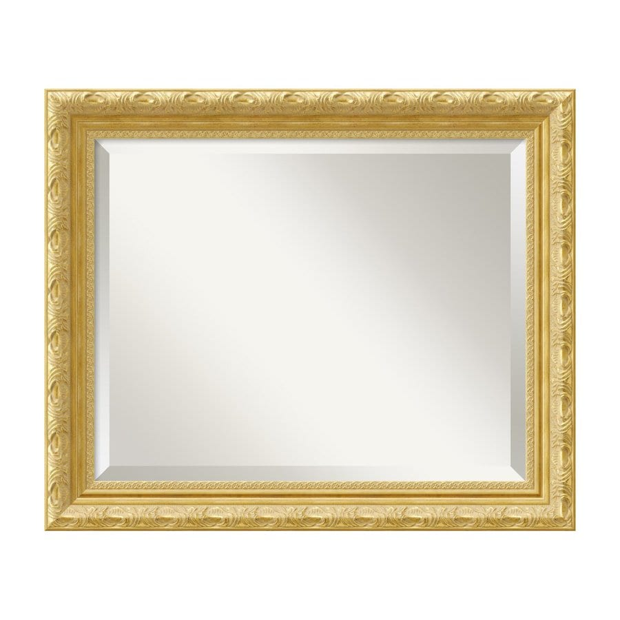 Amanti Art Versailles 23.84-in x 19.84-in Gold Beveled Rectangle Framed Wall Mirror