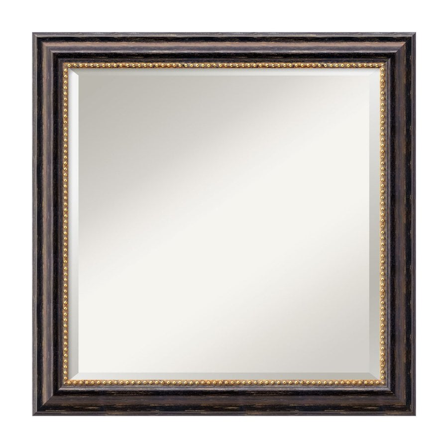 Amanti Art Tuscan Rustic 23.97-in x 23.97-in Distressed Black Beveled Square Framed Traditional Wall Mirror