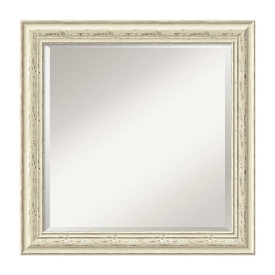 Amanti Art Country Whitewash 24.38-in x 24.38-in Rustic Whitewash Beveled Square Framed Wall Mirror