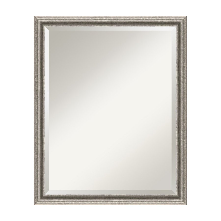Amanti Art Bel Volto 24.86-in x 30.86-in Burnished Antique Pewter Beveled Rectangular Framed Wall Mirror