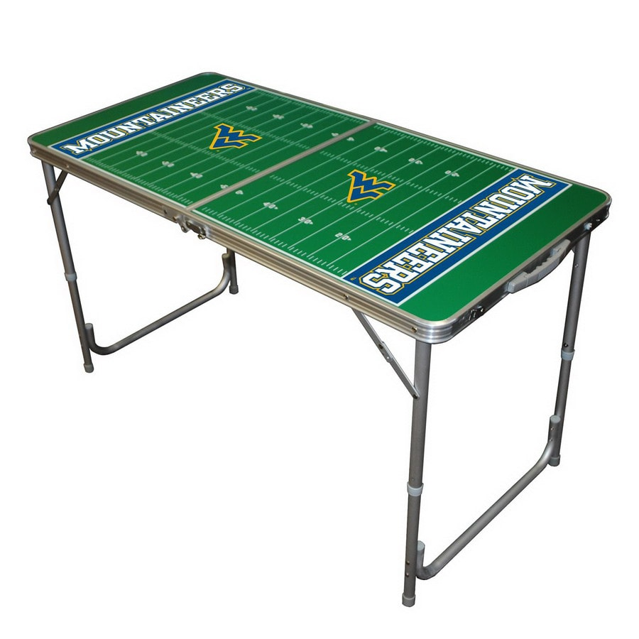 Wild Sports 48-in x 24-in Rectangle Cast Aluminum West Virginia Mountaineers Folding Table