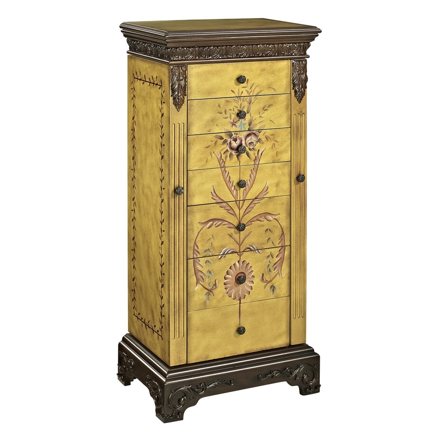 Powell Masterpiece Golden-Antique Parchment Floorstanding Jewelry Armoire