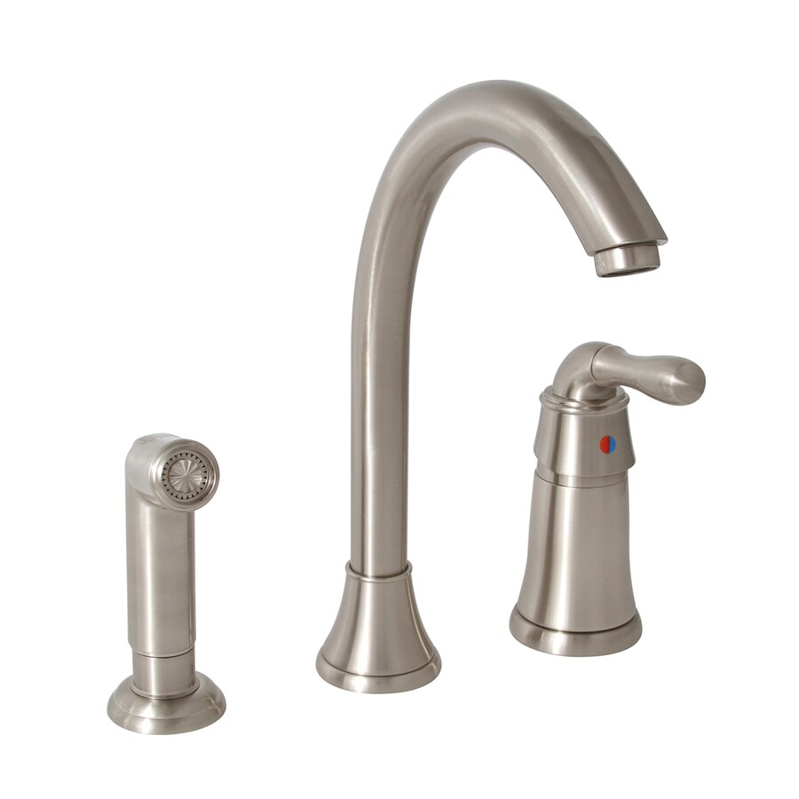 Shop Premier Faucet Sanibel Brushed Nickel 1 Handle High Arc Kitchen Faucet With Side Spray At