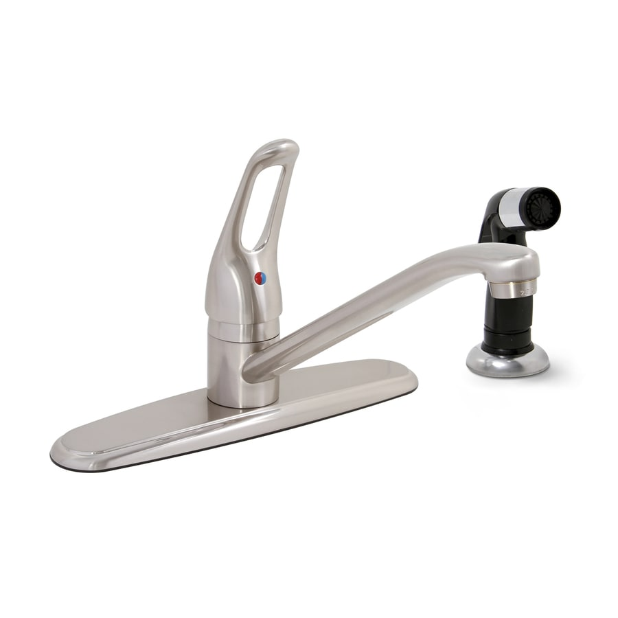 Premier Faucet Bayview Brushed Nickel 1-Handle Low-Arc Kitchen Faucet with Side Spray