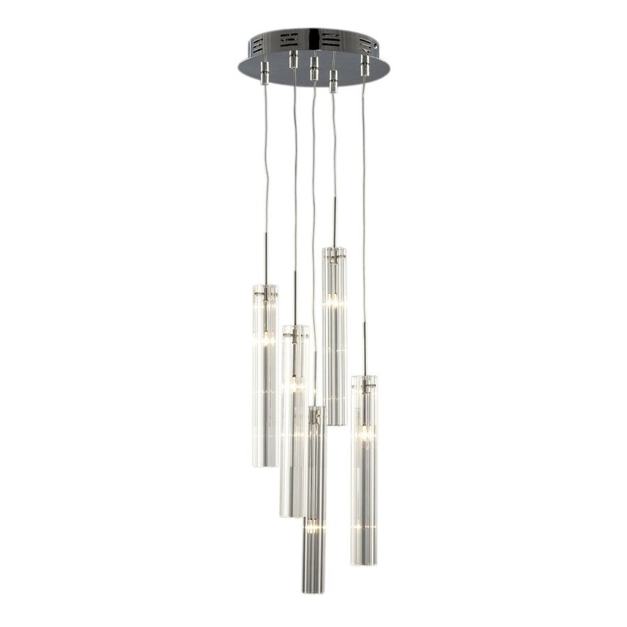 Galaxy Prisma 10-in Chrome Industrial Multi-Light Clear Glass Cylinder Pendant