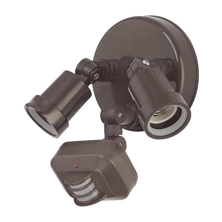 Acclaim Lighting 180-Degree 2-Head Bronze Halogen Motion-Activated Flood Light with Timer