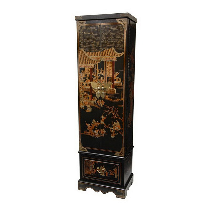 Shop oriental furniture lacquer black floorstanding for Lacquered furniture