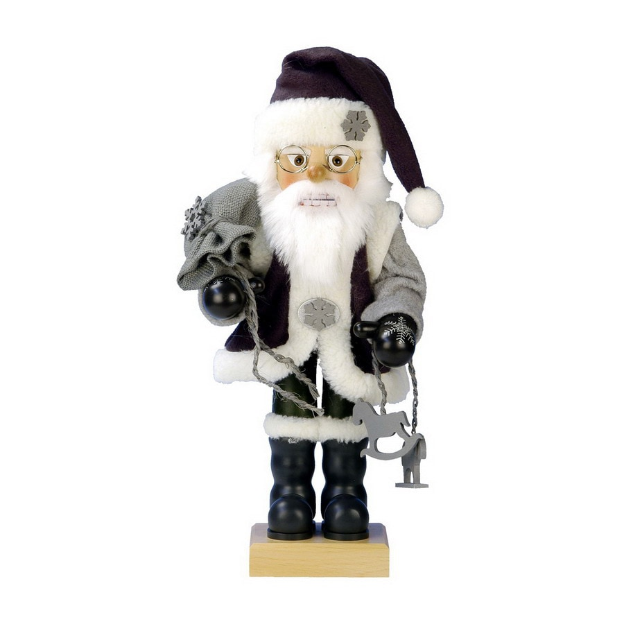 Alexander Taron Wood Grayish Santa Nutcracker Ornament