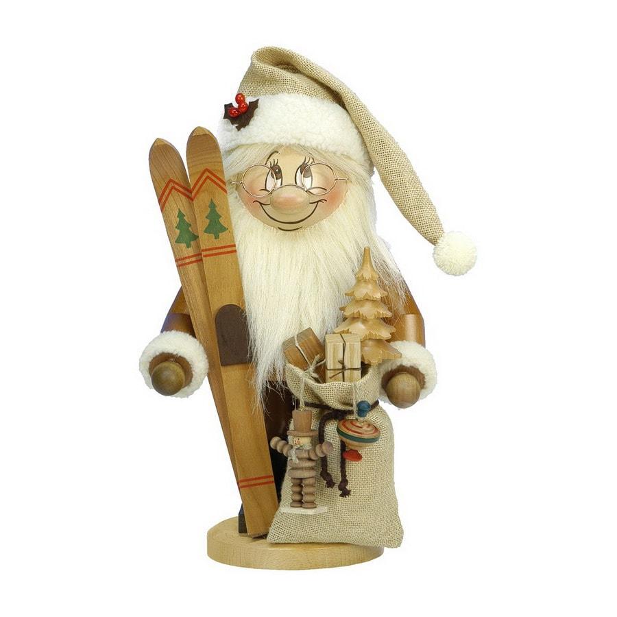 Alexander Taron Wood Santa with Skis Natural Nutcraker Ornament