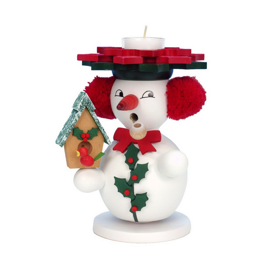 Alexander Taron Wood Snowman with Birdhouse T-Let Smoker Ornament