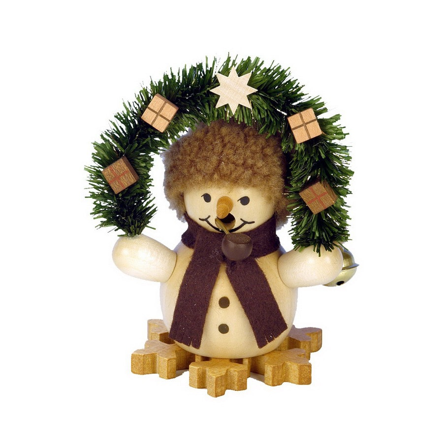 Alexander Taron Wood Mini Snowman with Arch Natural Smoker Ornament
