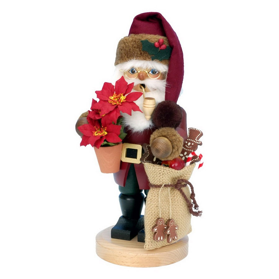 Alexander Taron Wood Santa Dark Red Smoker Ornament