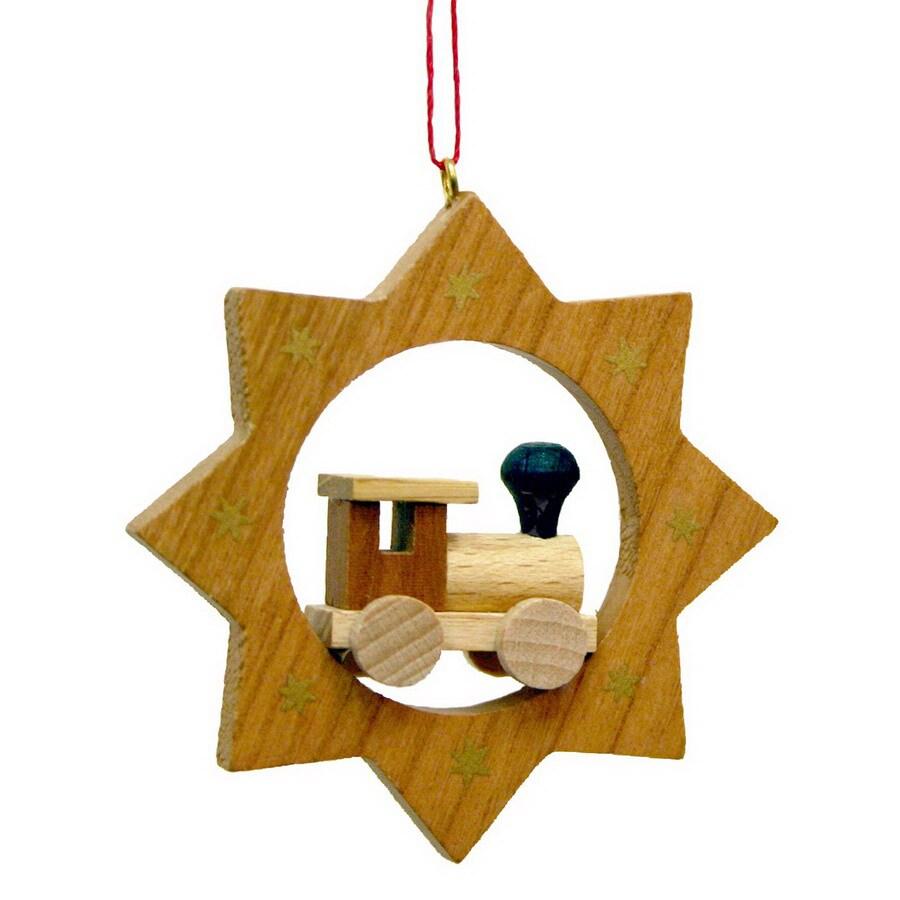 Alexander Taron Wood Train/Star Ornament