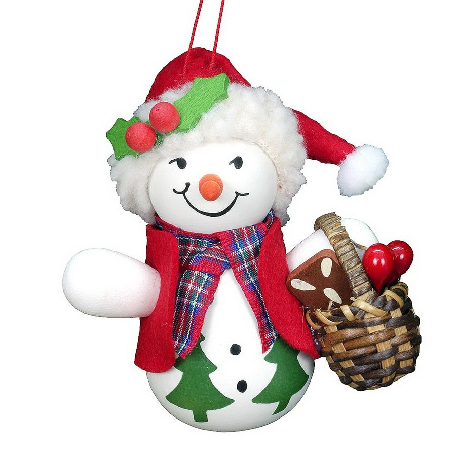 Alexander Taron Snowman with Basket Ornament