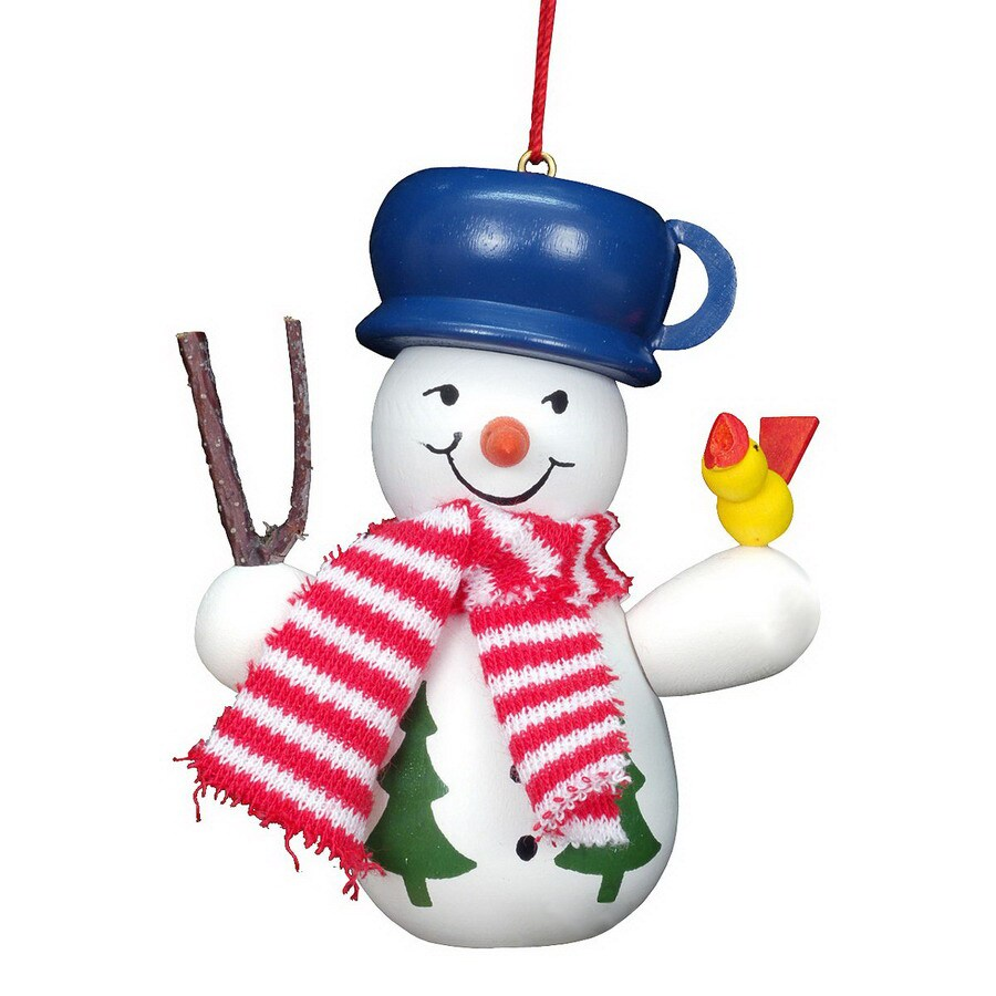 Alexander Taron Snowman with Bird Ornament