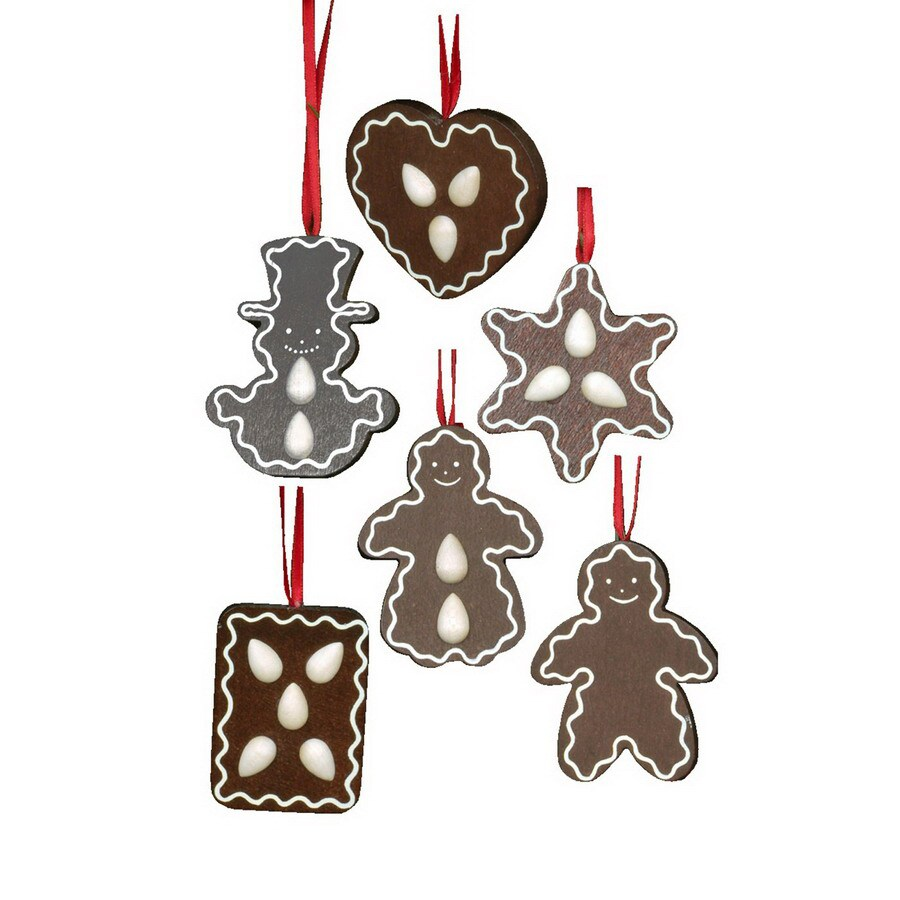 Alexander Taron 6-Pack Assorted Wood Gingerbread Cookies Ornaments