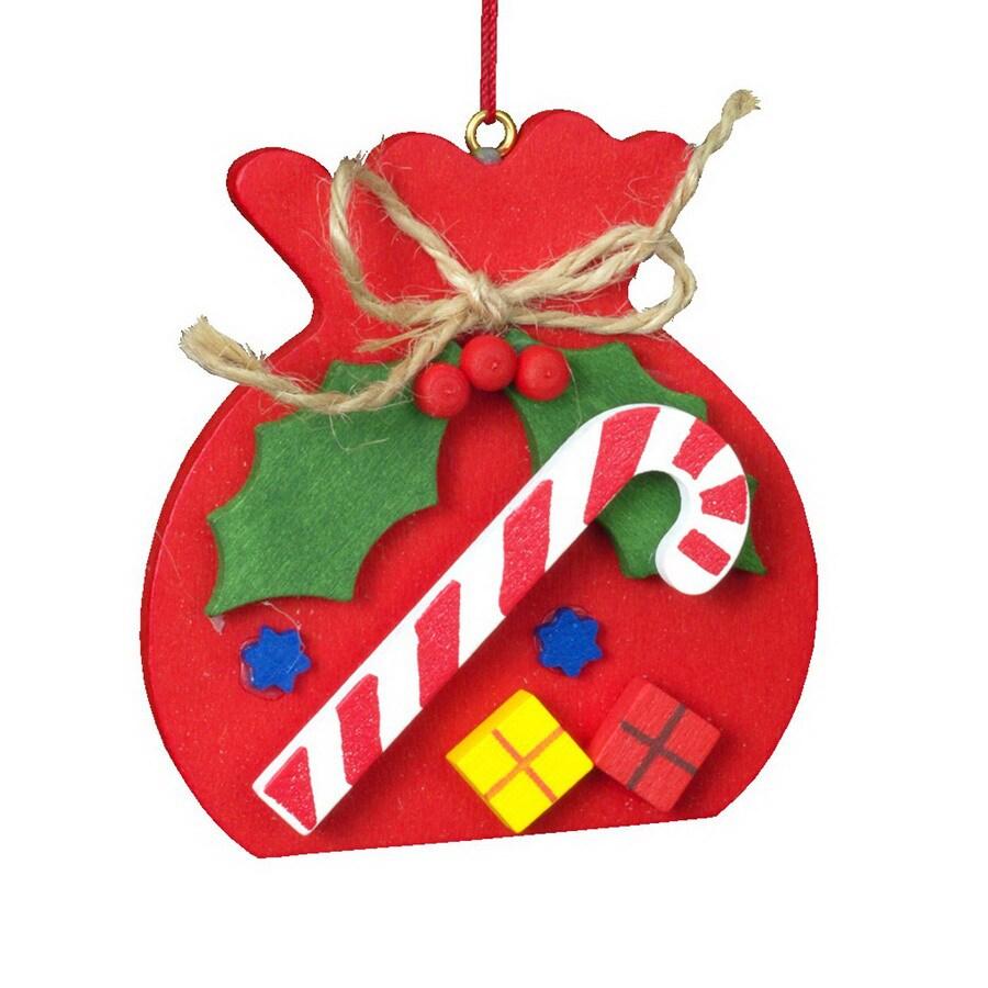 Alexander Taron Wood Bag Candy Cane Ornament