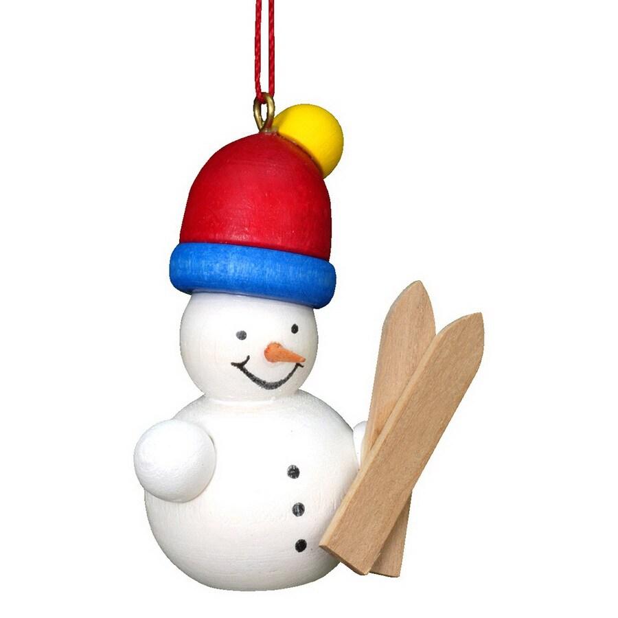 Alexander Taron Wood Snowman Skier Ornament