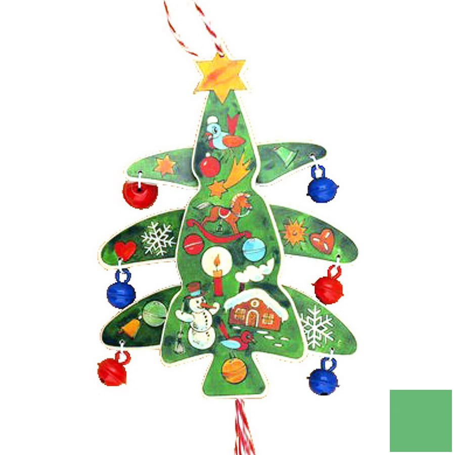 Alexander Taron Green Wood Tree Jumping Jack Ornament