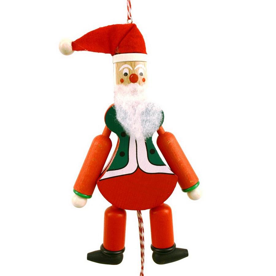 Alexander Taron Wood Santa Claus Jumping Jack Ornament