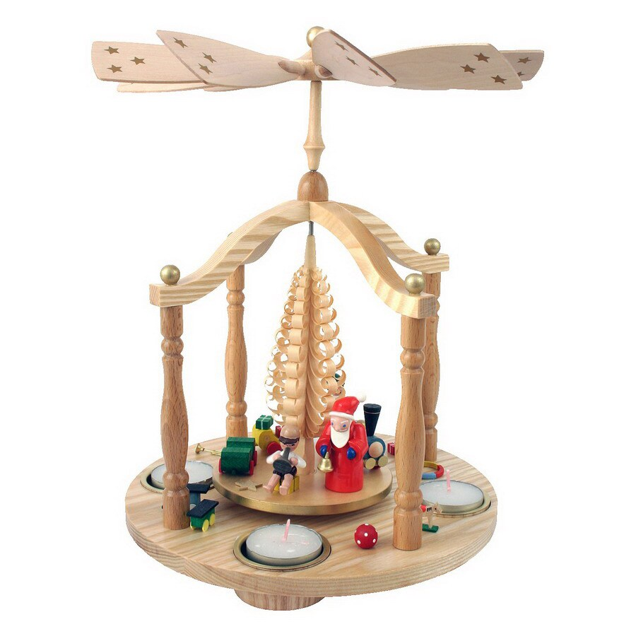 Alexander Taron 1-Piece Richard Glaesser Tabletop Santa Candle Pyramid Indoor Christmas Decoration