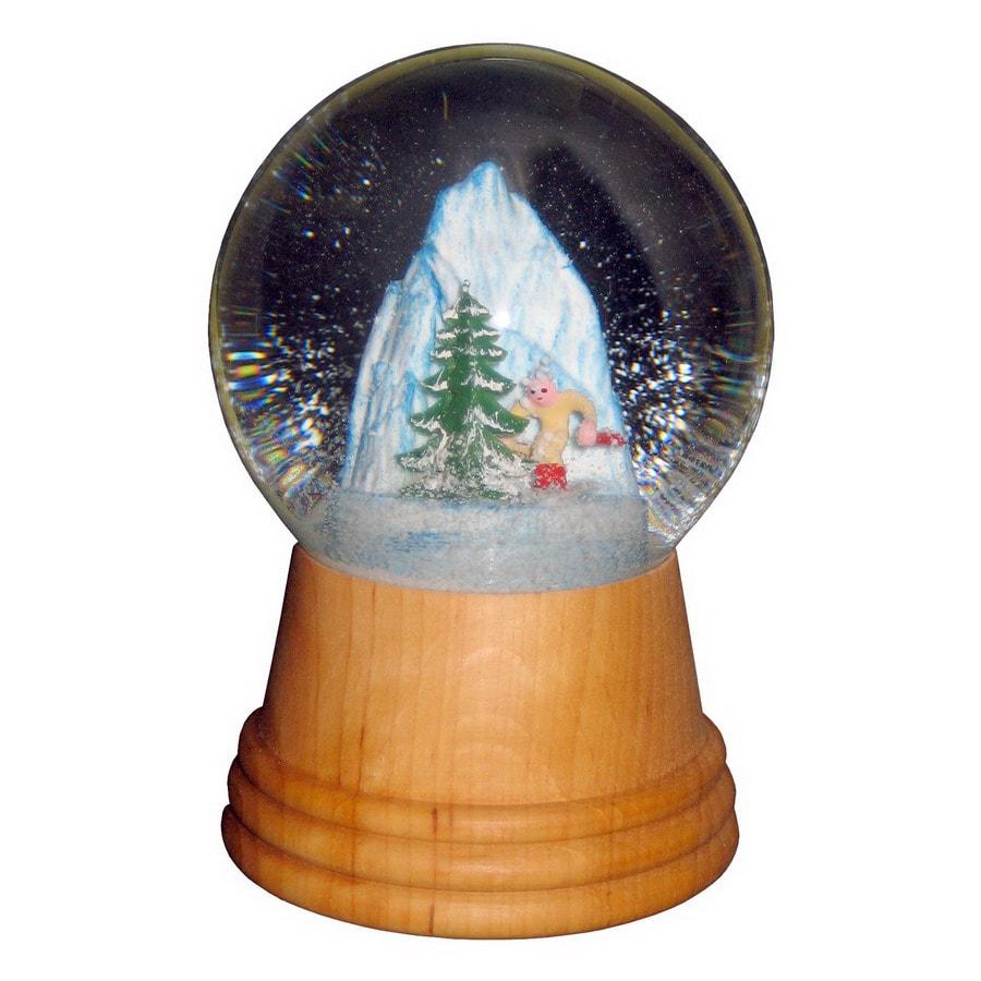 Alexander Taron Wood Skier Wood Snow Globe Ornament