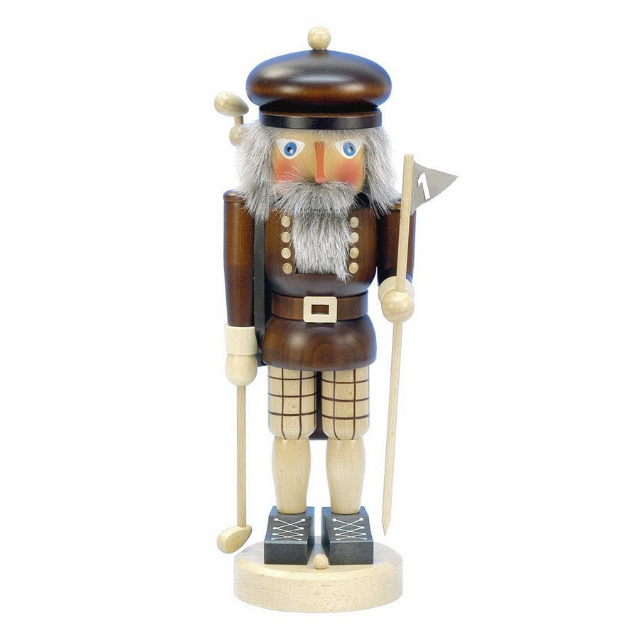 Alexander Taron Wood Golfer Natural Nutcracker Ornament