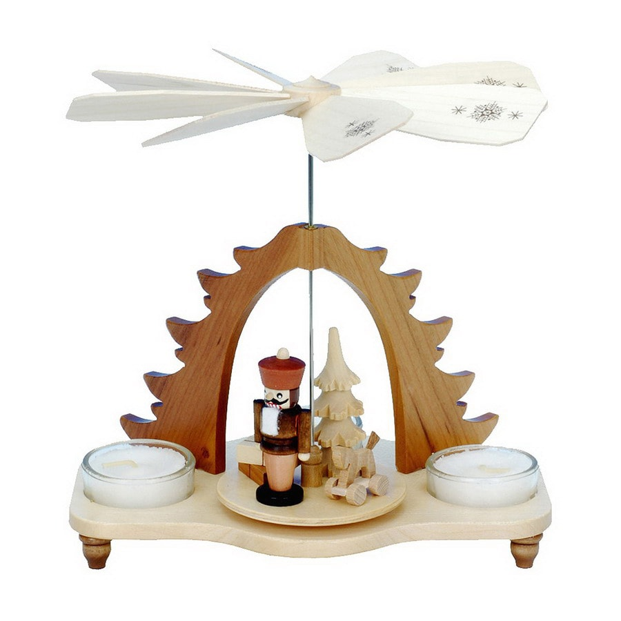 Alexander Taron Wood Nutcracker Natural Tea Candles Pyramid Ornament