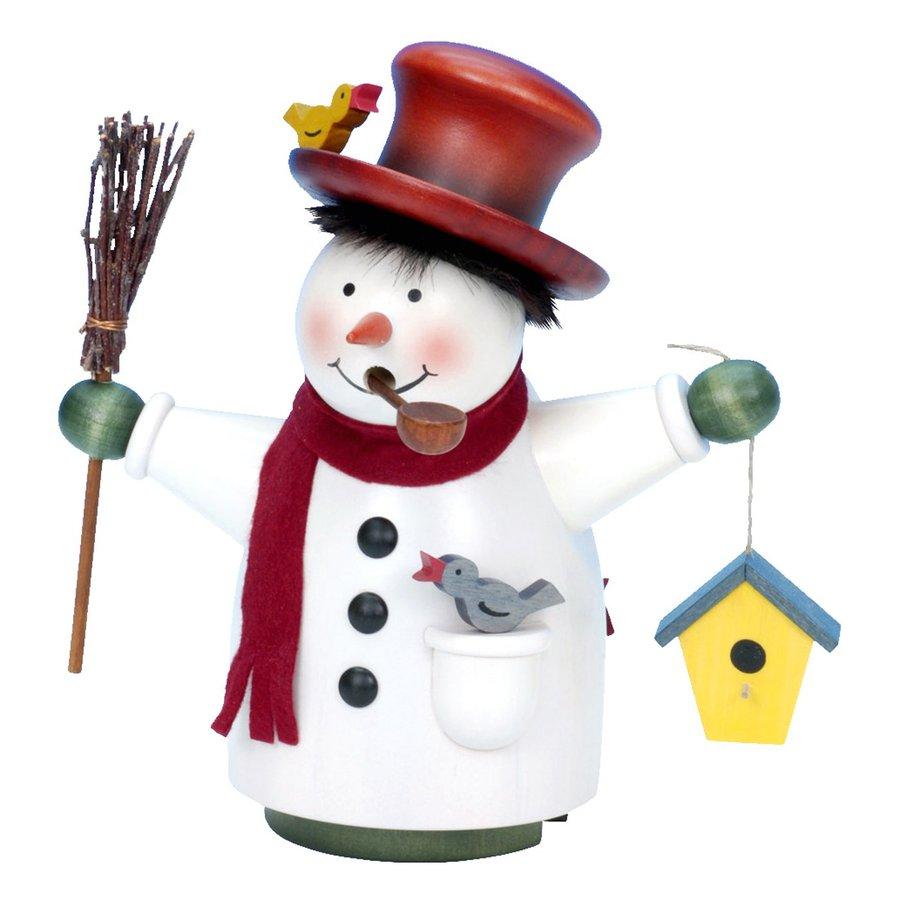 Alexander Taron Snowman with Birdhouse Wood Freestanding Incense Burner