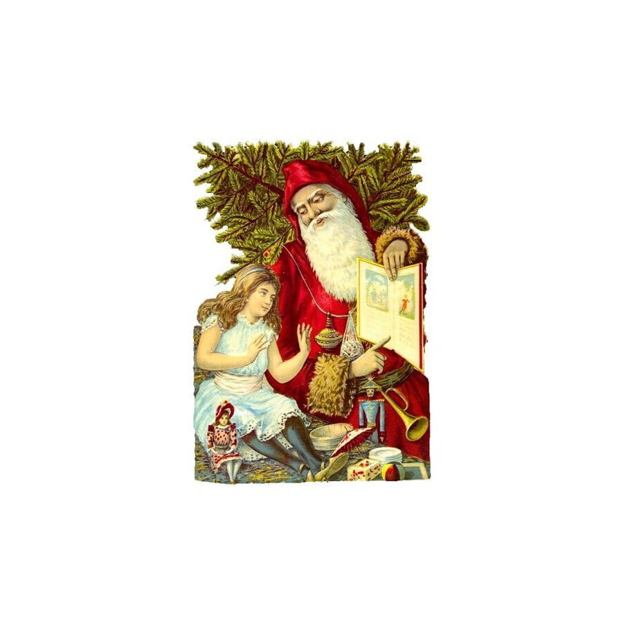Alexander Taron Santa with Girl Standing Christmas Card Ornament