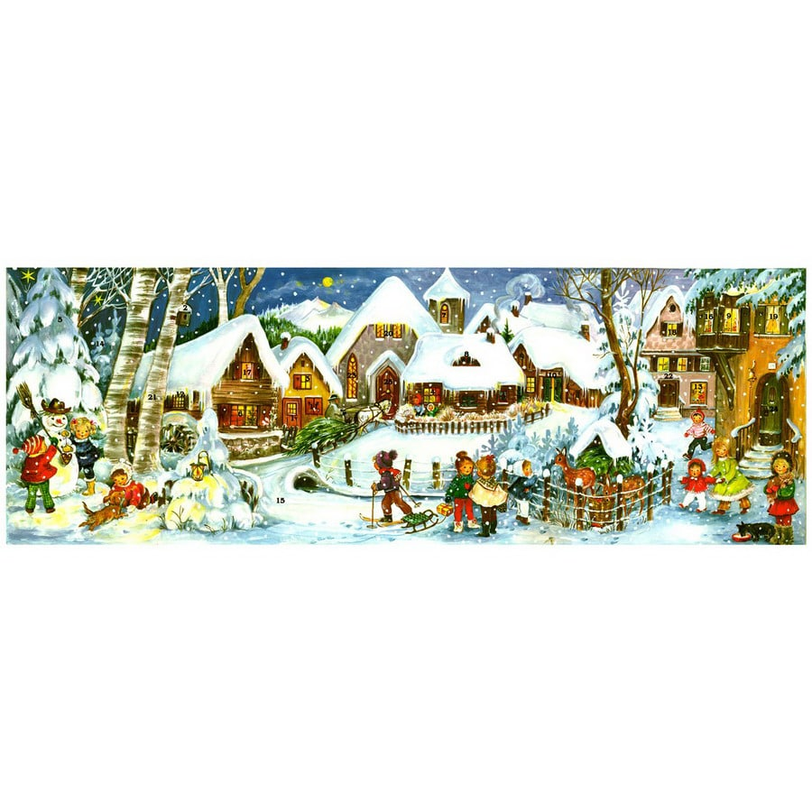 Alexander Taron Metal Panorama Village Advent Calendar Ornament