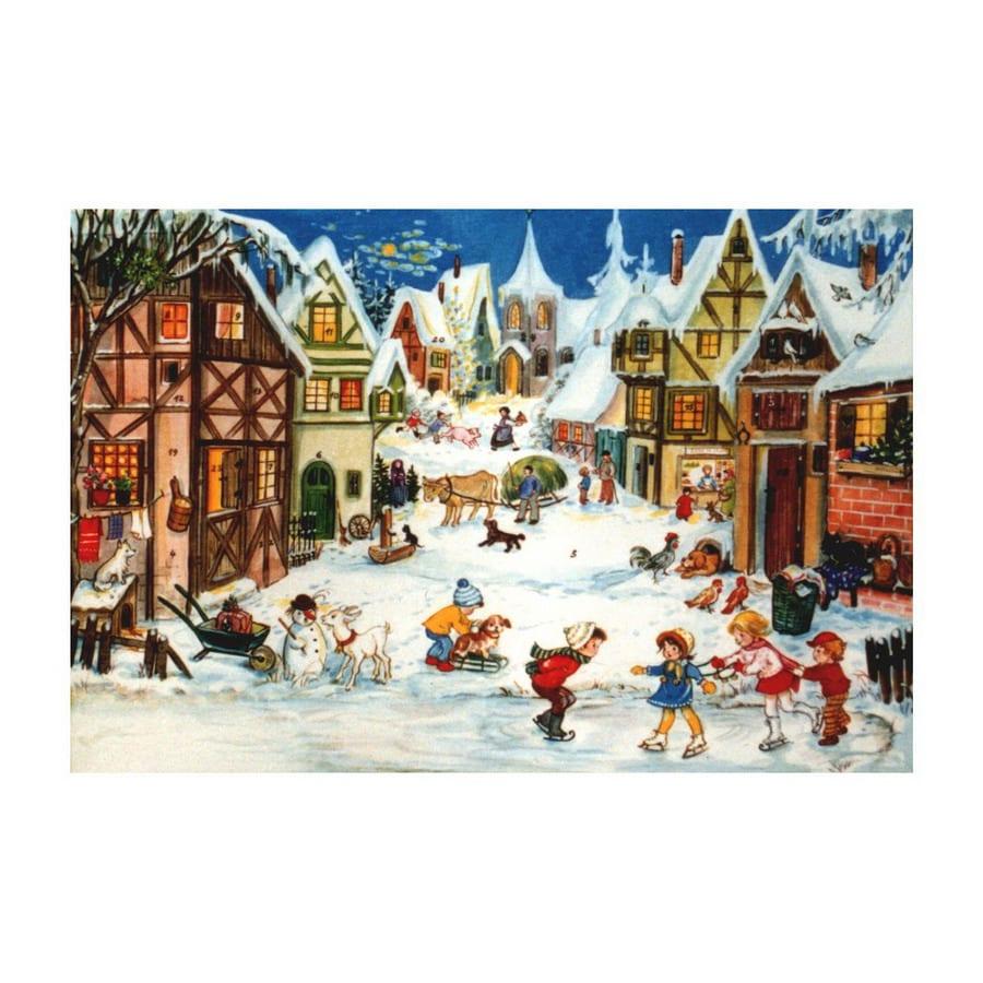Alexander Taron Small Children Skating Scene Advent Calendar Ornament