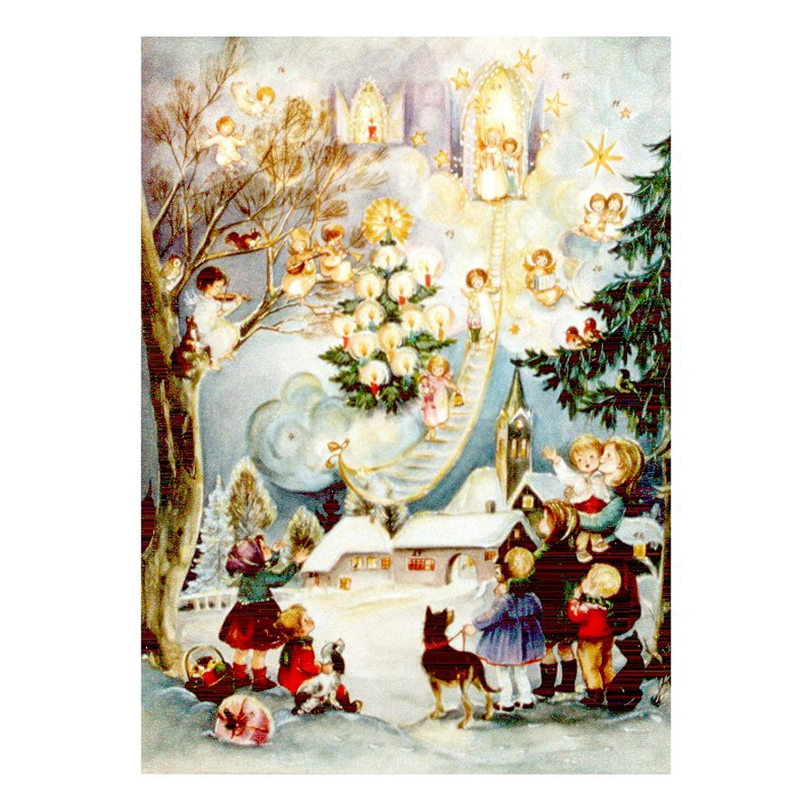 Alexander Taron Children with Angels Paper Tabletop Advent Calendar