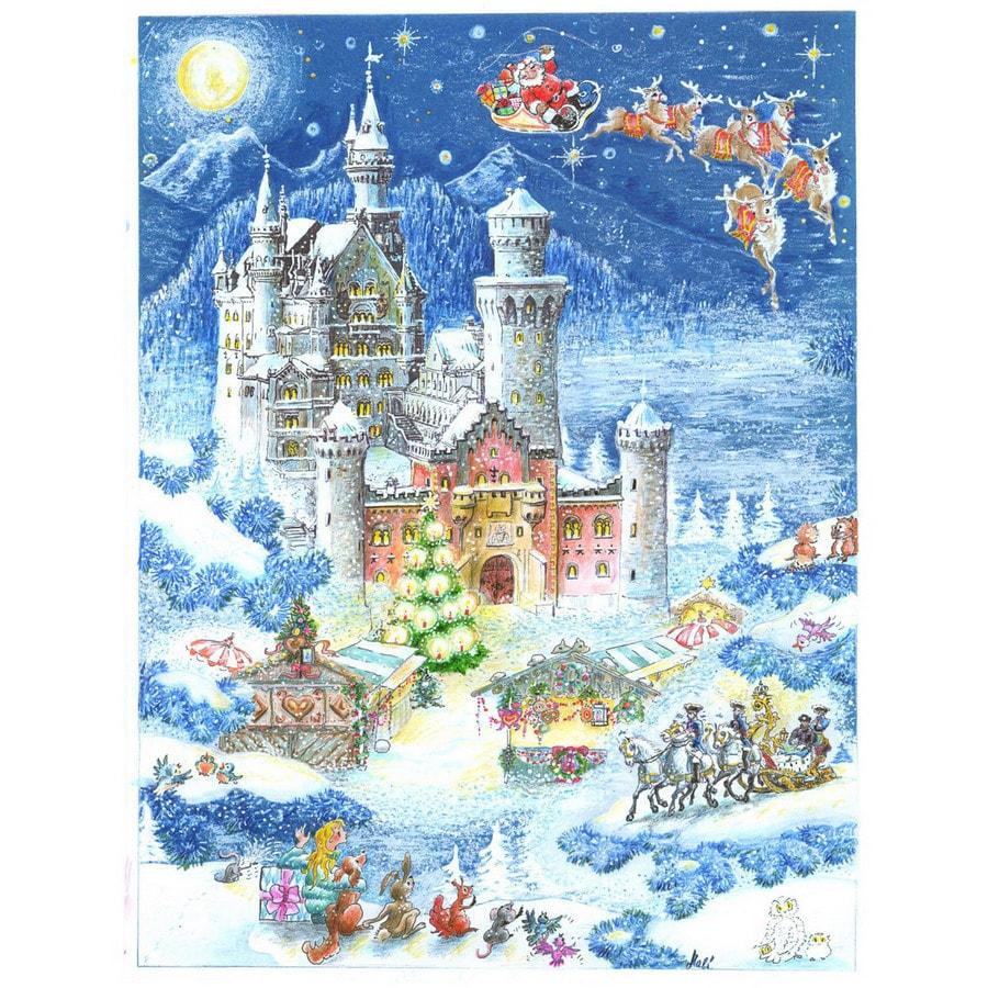 Alexander Taron Castle and Santa Advent Calendar Ornament