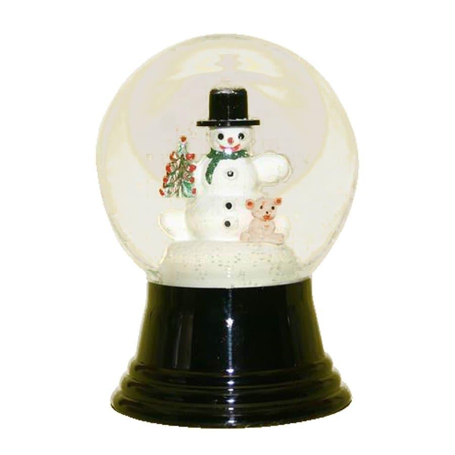 Alexander Taron Snowman with Bear Glass Tabletop Snow Globe