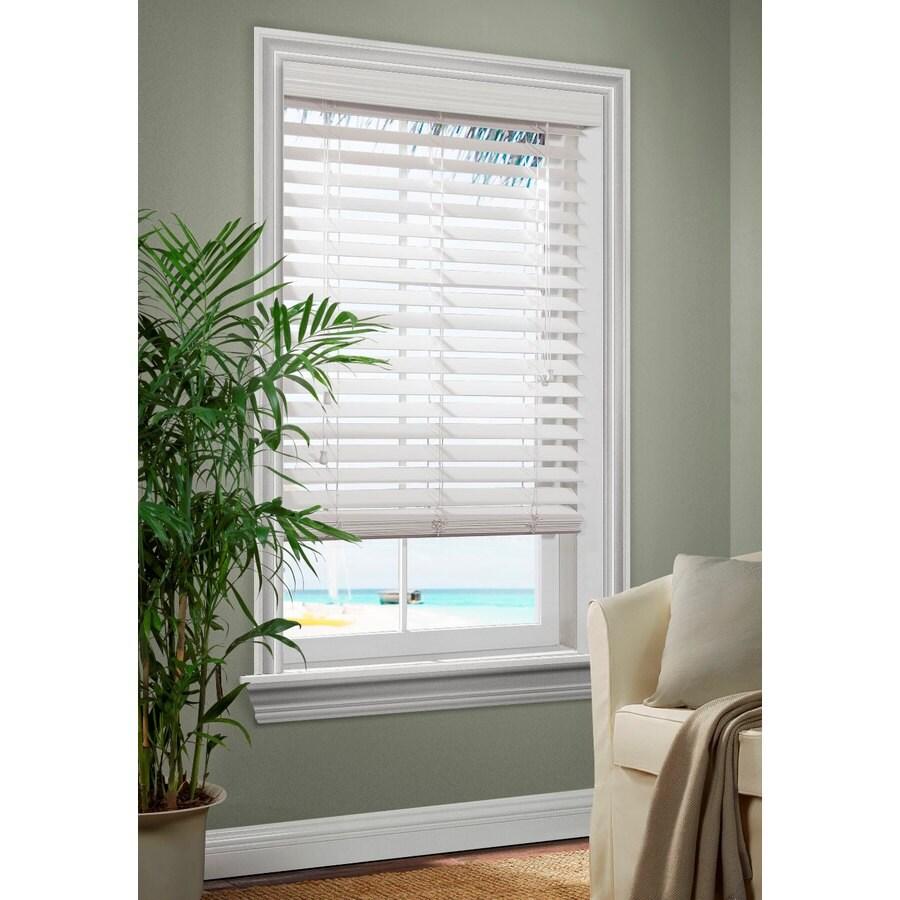 Shop allen roth 2 5 in white faux wood room darkening Room darkening blinds