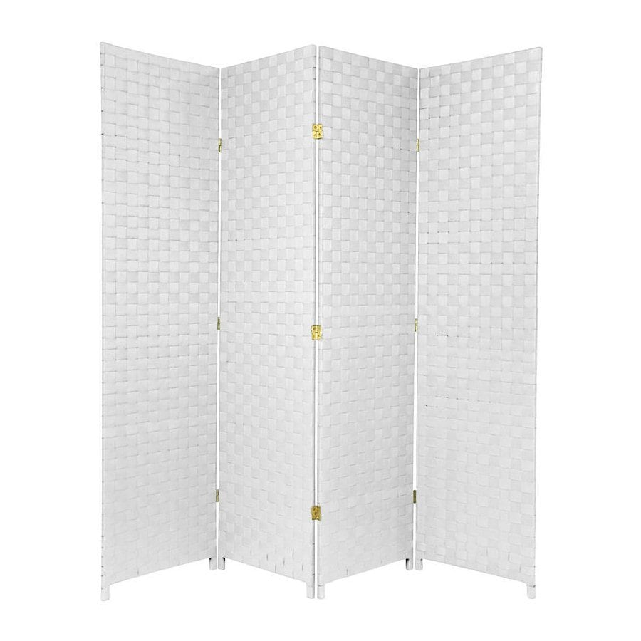Oriental Furniture 70-in W x 71-in H White Vinyl/Polyresin Outdoor Privacy Screen