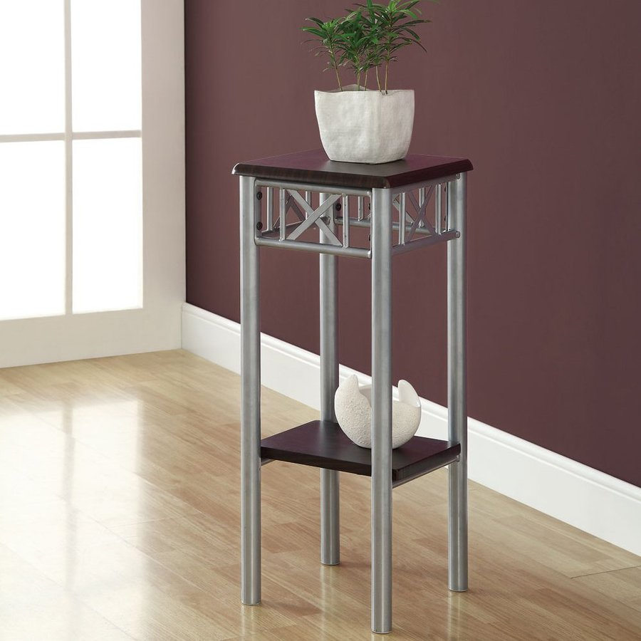 Monarch Specialties 28.5-in Cappuccino Indoor Square Wood Plant Stand