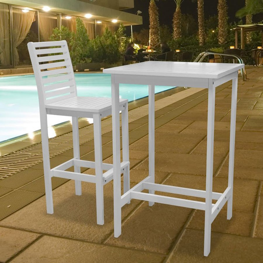 VIFAH Dartmoor 2-Piece White Acacia Bar Patio Dining Set